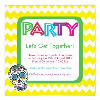 Sugar Skull Colour Party Invitation
