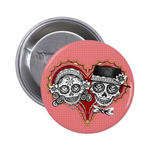 Sugar Skull Couple Buttons
