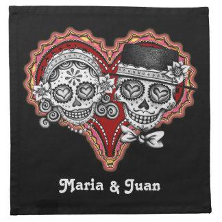 Sugar Skull Couple Cocktail Napkins - Customize!