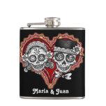 Sugar Skull Couple in Heart - Flask - CUSTOMIZE IT
