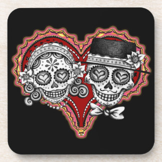 Sugar Skull Couple Muertos Coasters - Set of 6