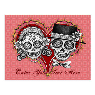 Sugar Skull Couple Postcard - Add Your Own Text