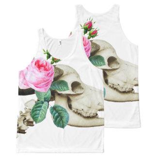 Sugar Skull Cow Rose All-Over Print Tank Top