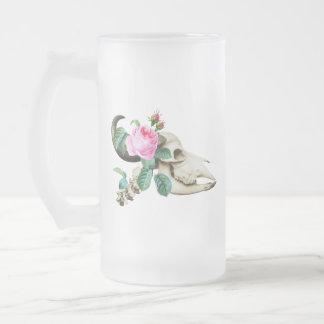 Sugar Skull Cow Rose Frosted Glass Beer Mug