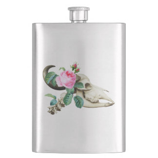 Sugar Skull Cow Rose Hip Flask