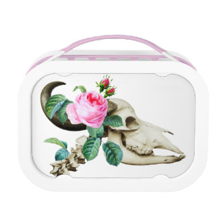 Sugar Skull Cow Rose Lunch Box