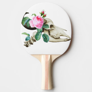 Sugar Skull Cow Rose Ping Pong Paddle
