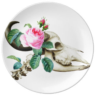 Sugar Skull Cow Rose Plate