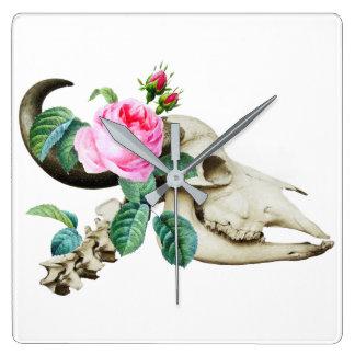Sugar Skull Cow Rose Wall Clocks