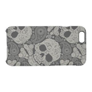 Sugar Skull Crossbones Pattern Clear iPhone 6/6S Case