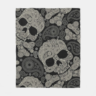 Sugar Skull Crossbones Pattern Fleece Blanket