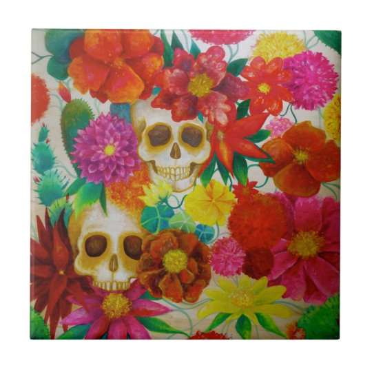 Sugar skull day of dead tattoo mexican tile for Tattoo shops hiring front desk