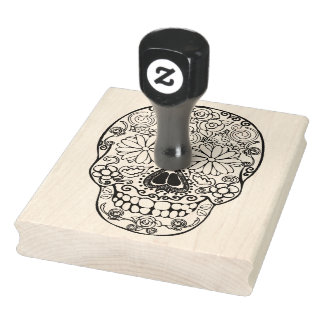 """Sugar Skull, Day of the Dead, 4"""" x 5"""" Rubber Stamp"""