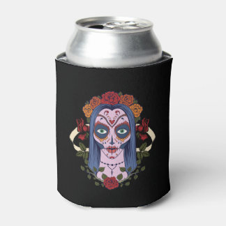 Sugar Skull Day Of The Dead Bride Red Roses Can Cooler