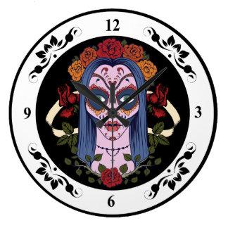 Sugar Skull Day Of The Dead Bride Red Roses Wall Clock