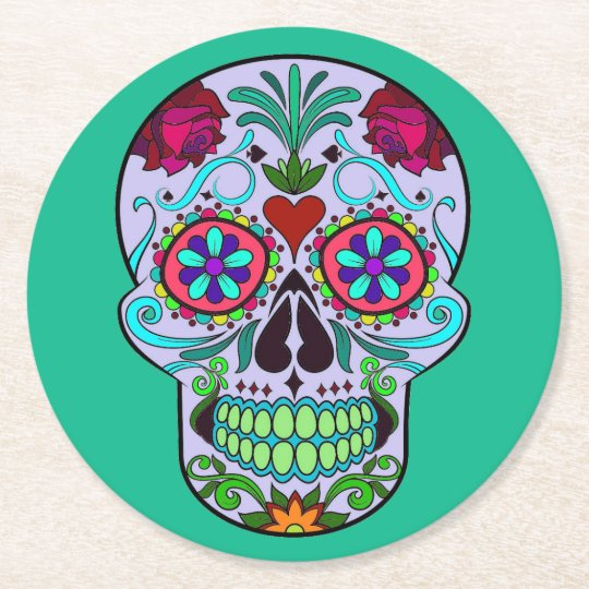 Sugar Skull Day of the Dead Colourful Drink Round Paper Coaster