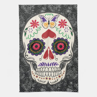 Sugar Skull Day of the Dead Kitchen Towel Art