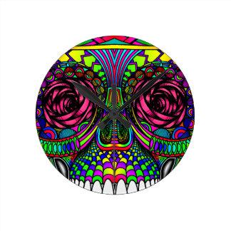 Sugar Skull Day of the Dead Rainbow Colorful Art Clock