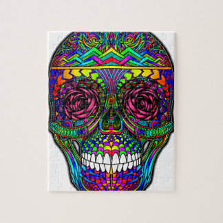 Sugar Skull Day of the Dead Rainbow Colorful Art Jigsaw Puzzle