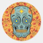 Sugar Skull (Day of the Dead) (Red) Round Sticker
