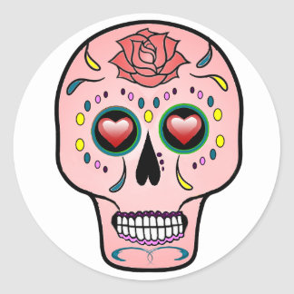 Sugar skull  Day of the Dead rose stickers