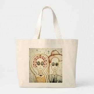 sugar skull day of the dead tattoo art tote bag