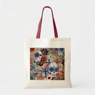 sugar skull day of the dead tattoo art tote bag