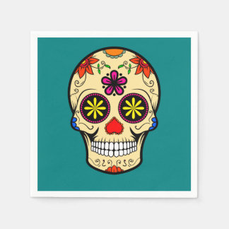 Sugar Skull Day of the Dead Teal Disposable Napkin