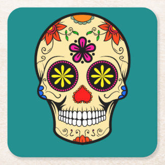 Sugar Skull Day of the Dead Teal Square Paper Coaster