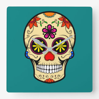 Sugar Skull Day of the Dead Teal Square Wall Clock