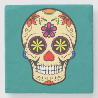 Sugar Skull Day of the Dead Teal Stone Coaster