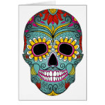 Sugar Skull Day of the Dead with floral ornaments Cards