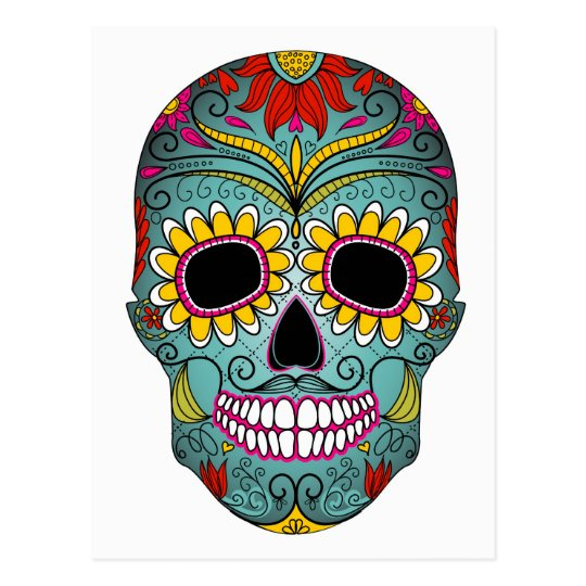 Sugar Skull Day of the Dead with floral ornaments Postcard