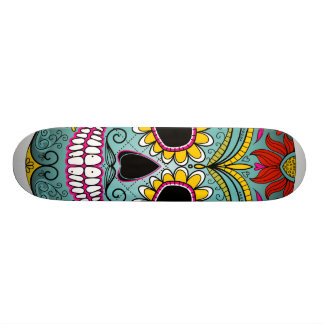 Sugar Skull Day of the Dead with floral ornaments Skateboard