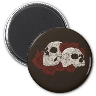 Sugar Skull Design with Roses 6 Cm Round Magnet