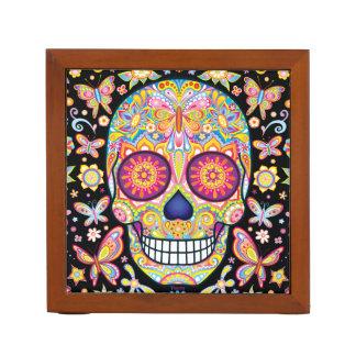 Sugar Skull Desk Organizer - Day of the Dead Art