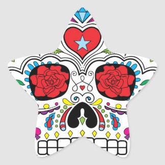 Sugar Skull Dia Des Los Muertos Styled Products Star Sticker