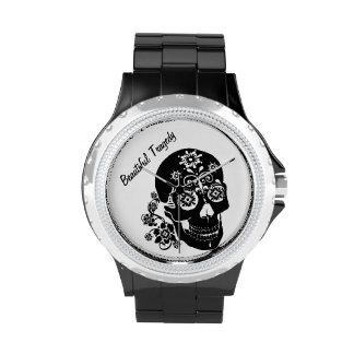 sugar skull wrist watch