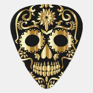 Sugar Skull faux Gold Design Guitar Pick