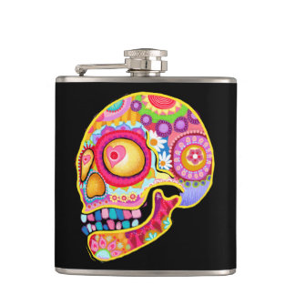 Sugar Skull Flask - Colorful Day of the Dead Art