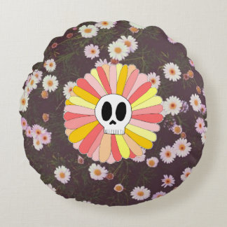 Sugar Skull Floral Round Pillow