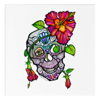 "SUGAR SKULL & FLOWER 12""x12"" Acrylic Wall Art"