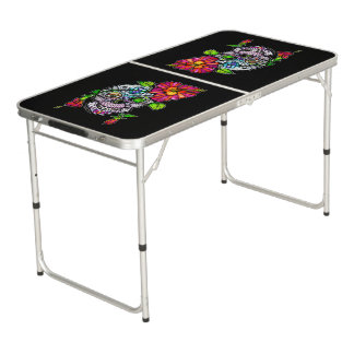 SUGAR SKULL & FLOWER BEER PONG TABLE