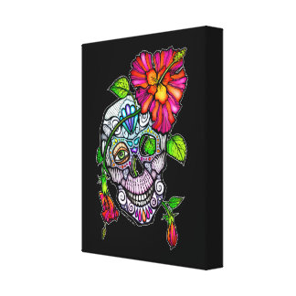 SUGAR SKULL & FLOWER CANVAS PRINT