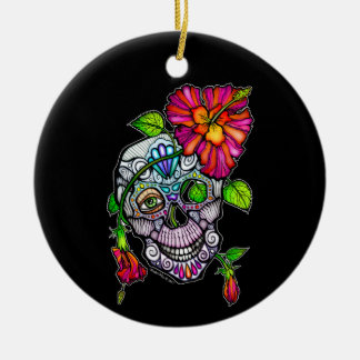 SUGAR SKULL & FLOWER CERAMIC ORNAMENT