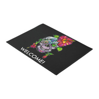 SUGAR SKULL & FLOWER DOORMAT