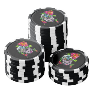 SUGAR SKULL & FLOWER SET OF POKER CHIPS