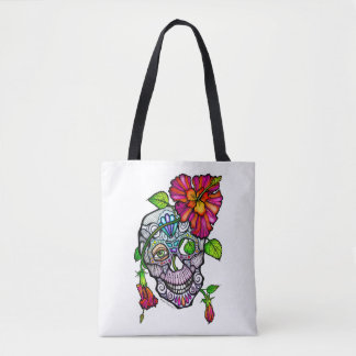 SUGAR SKULL & FLOWER TOTE BAG