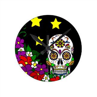 Sugar Skull, Flowers and Stars Wallclocks