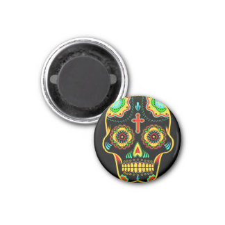 Sugar skull full color 3 cm round magnet